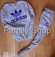УТЕПЛЕННЫЙ Спортивный костюм Adidas Адидас для парня серый (большой принт) (реплика)