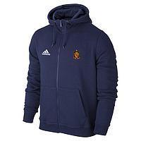 Спортивная толстовка (кофта) сборной Испании-Адидас, Spain, Adidas, с капюшоном, синяя, К4427