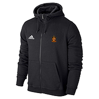 Спортивная толстовка (кофта) сборной Испании-Адидас, Spain, Adidas, с капюшоном, черная, К4428