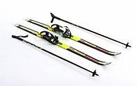 Лыжи беговые с палками желтые 140 см ZEL