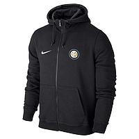 Спортивная толстовка (кофта) Интер-Найк, Inter, Nike, с капюшоном, черная, К4431