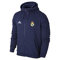Спортивная толстовка (кофта) Реал Мадрид- Адидас, Real Madrid, Adidas, с капюшоном, синяя, К4454