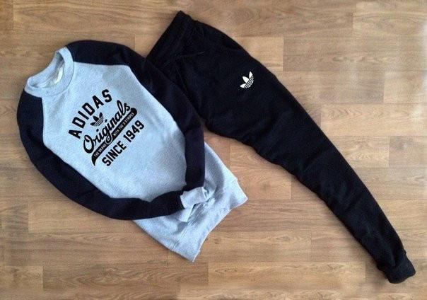 ТЕПЛЫЙ Мужской Спортивный костюм с принтом Adidas Originals с черным рукавом (реплика)