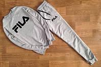 ТЕПЛЫЙ Трикотажный спортивный костюм FILA Фила серый (большой черный принт) (реплика)