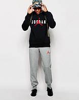 ТЕПЛЫЙ Спортивный костюм Jordan Джордан черный с серыми штанами (большой принт)
