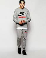 ТЕПЛЫЙ Мужской Спортивный костюм Nike Track&Field Найк серый (большой принт) (реплика)