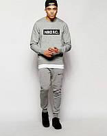 ТЕПЛЫЙ Мужской Спортивный костюм Nike F.C. Найк серый (большой принт) (реплика)