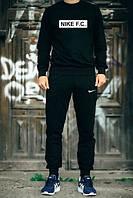 ТЕПЛЫЙ Мужской Спортивный костюм Nike F.C. Найк черный (большой принт) (реплика)
