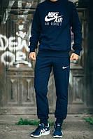 ТЕПЛЫЙ Мужской Спортивный костюм Nike Air Найк темно-синий (большой принт) (реплика)