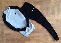 ТЕПЛЫЙ Мужской Спортивный костюм Nike серый с черным рукавом (маленький принт) (реплика)
