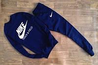 ТЕПЛЫЙ Мужской Спортивный костюм Nike Track&Field темно-синий  (большой белый принт) (реплика)