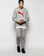 НАЧЕС Молодежный спортивный костюм Puma Пума серый (большой красный принт) (реплика), фото 1