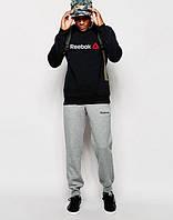 НАЧЕС Мужской Спортивный костюм Reebok черный с серыми штанами (большой принт) (реплика)