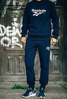 НАЧЕС Мужской Спортивный костюм Reebok Рибок темно-синий (большой белый принт) (реплика)
