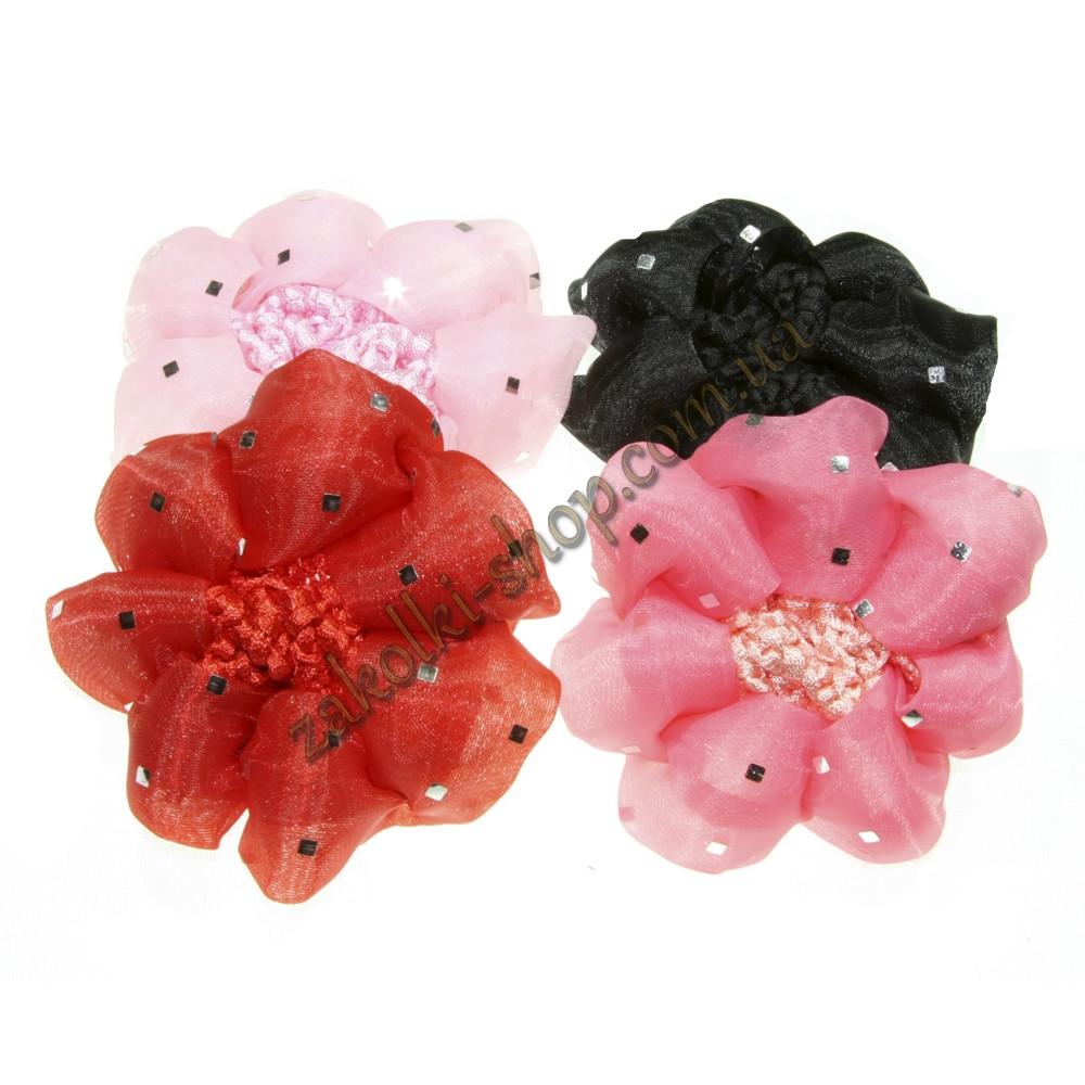 Аксессуары для волос; Сеточка вязаная для гульки цветная с паетками, 12 штук в упаковке
