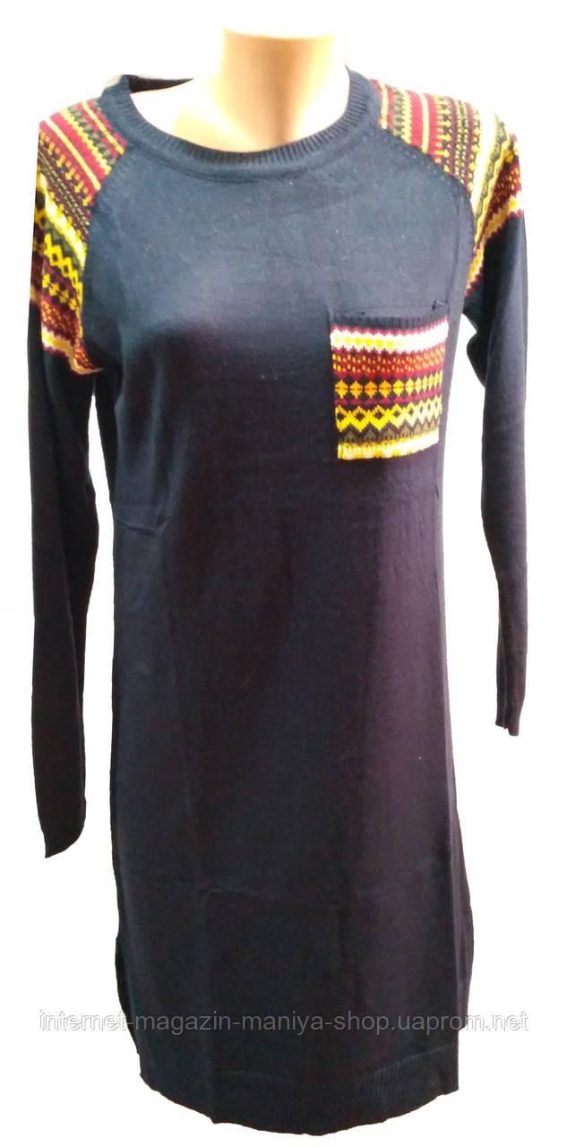 Туника женская карман орнамент полу батал (деми)