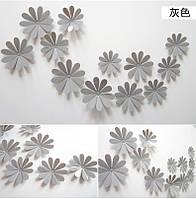 Цветы 3D декор серые