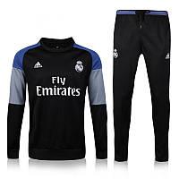 Тренировочный костюм Реал Мадрид, Адидас, черная олимпийка, черные штаны, к41