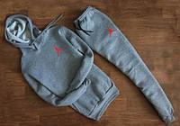 ЗИМНИЙ Мужской Спортивный костюм Jordan серый c капюшоном (маленький красный принт)
