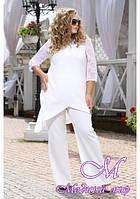 Элегантный белый брючный костюм большого размера (р. 48-90) арт. Миндаль