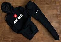 УТЕПЛЕННЫЙ Мужской Спортивный костюм Nike Just Do It чёрный c капюшоном (большой принт)