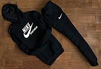 УТЕПЛЕННЫЙ Мужской Спортивный костюм Nike Sportswear чёрный c капюшоном (белый принт)