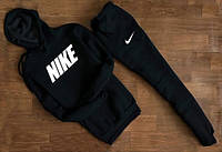 УТЕПЛЕННЫЙ Мужской Спортивный костюм Nike Найк чёрный c капюшоном (большой белый принт)