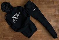 УТЕПЛЕННЫЙ Мужской Спортивный костюм Nike Найк чёрный c капюшоном (белый принт)
