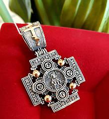 Иерусалимский мужской крест из серебра и золота