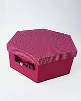 Большая шестиугольная подарочная коробка ручной работы малинового цвета с милым бантиком