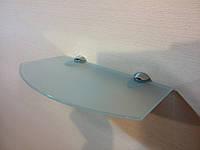 Полка стеклянная фигурная матовая 4 мм 25 х 15 см в комплекте, фото 1