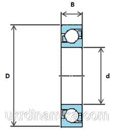 Шарикоподшипник радиально упорный однорядный - схема