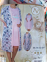 """Женский комплект халат с ночной рубашкой для кормящих мам """"Nicoletta"""" №7240"""