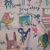 Плащевка принт детская (светло-розовая) ткань.