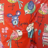 Плащевка принт детская (красная) ткань.