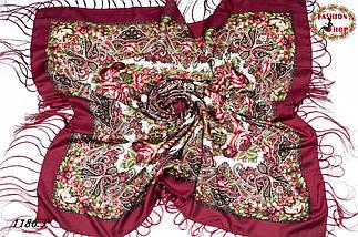 Бордовый павлопосадский шерстяной платок Осеннее танго, фото 3