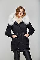 Куртка парка женская с мехом чернобурки - П-17 черный