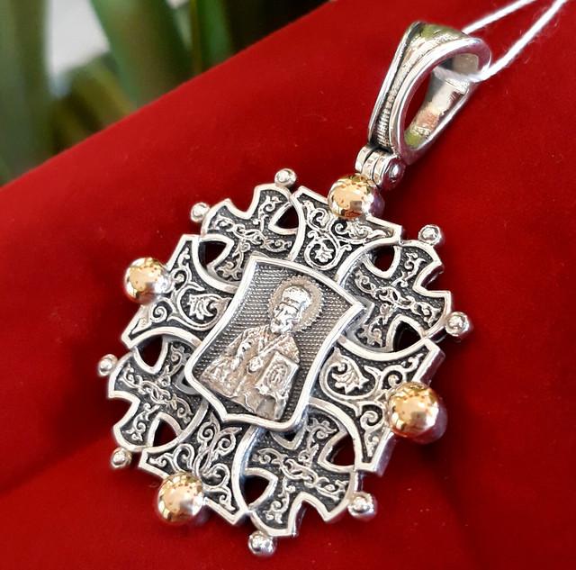 Константиновский мужской крест с Николаем Чудотворцем фото