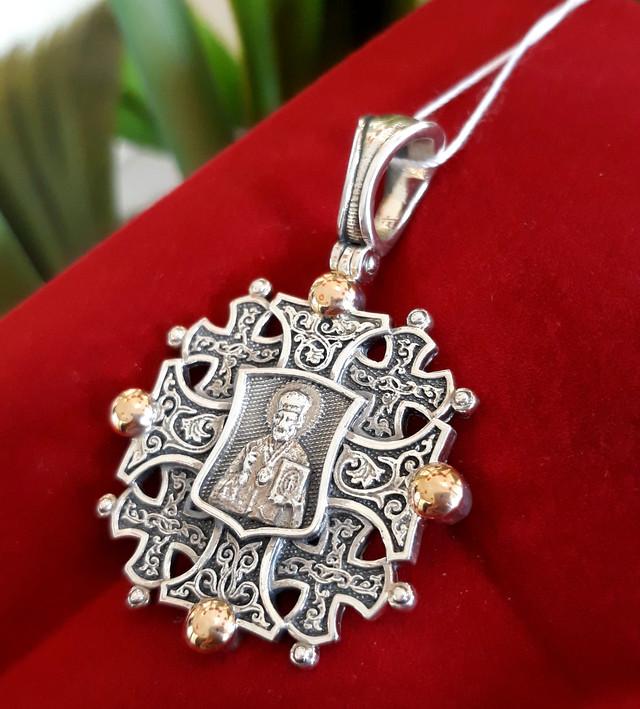 Константиновский мужской крест с Николаем Чудотворцем фото 3