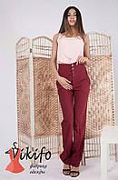 Стильные бордовые брюки с завышенной талией