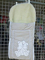Зимний меховый конверт для новорожденного в коляску и санки
