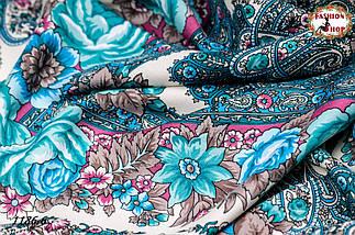 Тёмно-синий павлопосадский шерстяной платок Осеннее танго, фото 2
