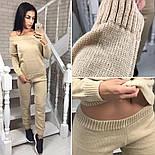 Женский стильный костюм мелкой вязки: свитер со спущенными плечиками и штаны (5 цветов), фото 10
