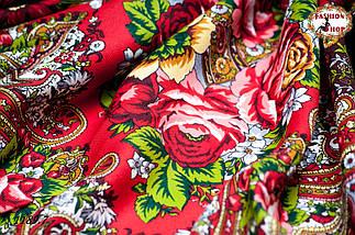 Чёрный павлопосадский шерстяной платок Осеннее танго, фото 3