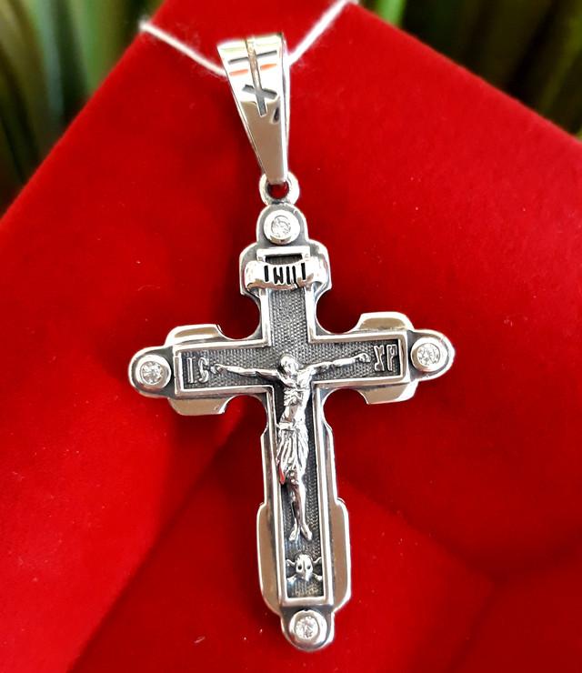 Мужской крест Барака серебро фото