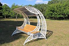 """Садовые качели """"Невеста"""" белого цвета, материал основы сидения - дуб, фото 2"""