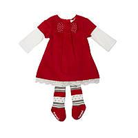 Красное платье с бантиком и колготки