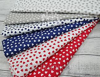 Ткань польская с мини-сердечками красного, синего и серого цвета.