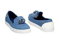 Женские качественные синие слипоны кеды мокасины, текстиль джинс Balada