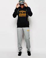 УТЕПЛЕННЫЙ Мужской Спортивный костюм Adidas Originals чёрно-серый